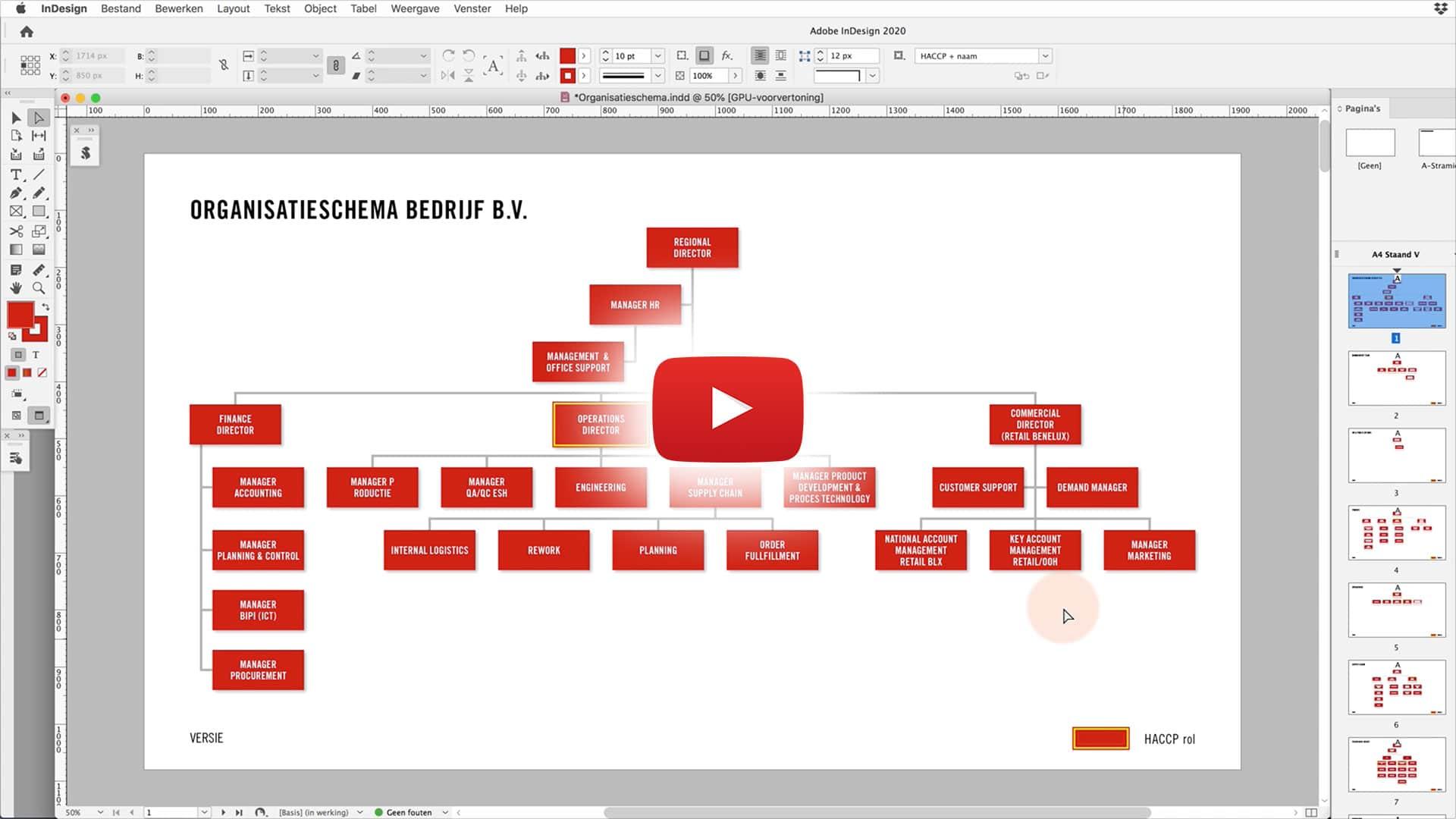 organisatieschema video still desktop | Pdf gevuld met gegevens uit een database